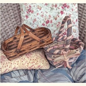 2 vintage rustic handled baskets